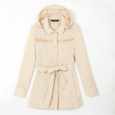 【Atunas 歐都納】女款Tactel透氣中長版風衣外套A1-G1308W米卡其