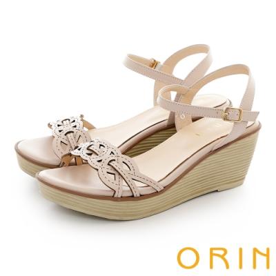 ORIN 創意造型簍空牛皮楔型高跟涼鞋 裸色