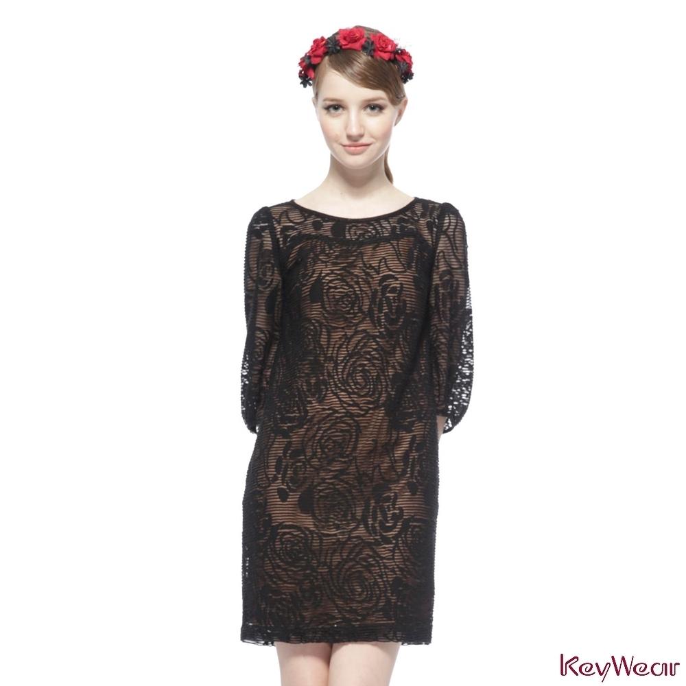 KeyWear奇威名品     浪漫透視蕾絲七分袖洋裝-黑色
