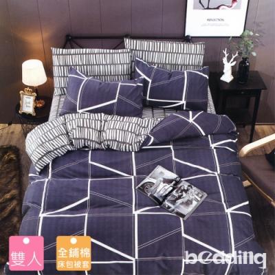 BEDDING-活性印染四件式全鋪棉兩用被床包組-簡格(雙人)