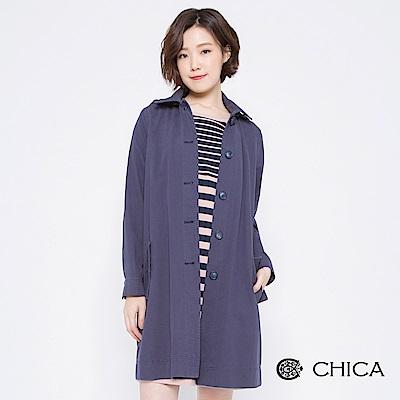 CHICA 經典貝克街排釦連帽風衣外套(2色)