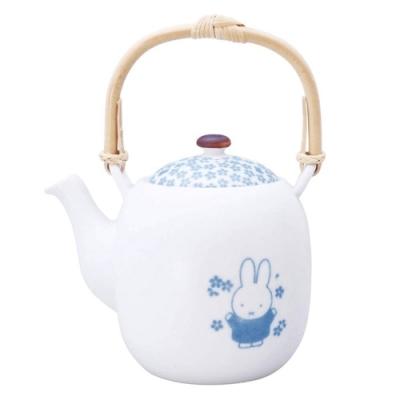 日本原裝進口 米菲兔Miffy金正陶器美濃燒和小紋日式茶壺212169米菲兔Miffy(瓷製;550ml;附濾茶器)小白兔泡茶壺茶具 日本製造