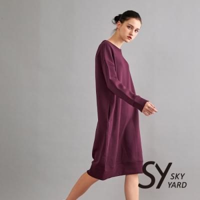 【SKY YARD 天空花園】簡約刺繡內刷毛長版上衣-紫紅
