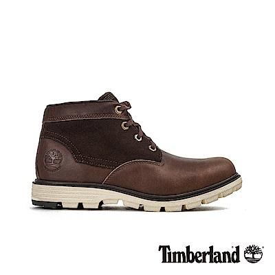 Timberland 男款深褐色拼接皮革防水短靴|A1K7U