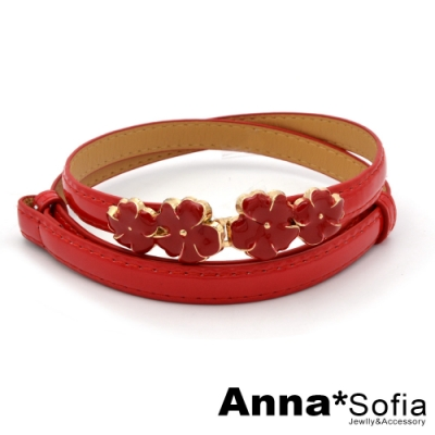 AnnaSofia 釉彩花綻 背調式漆面細腰帶(櫻紅)