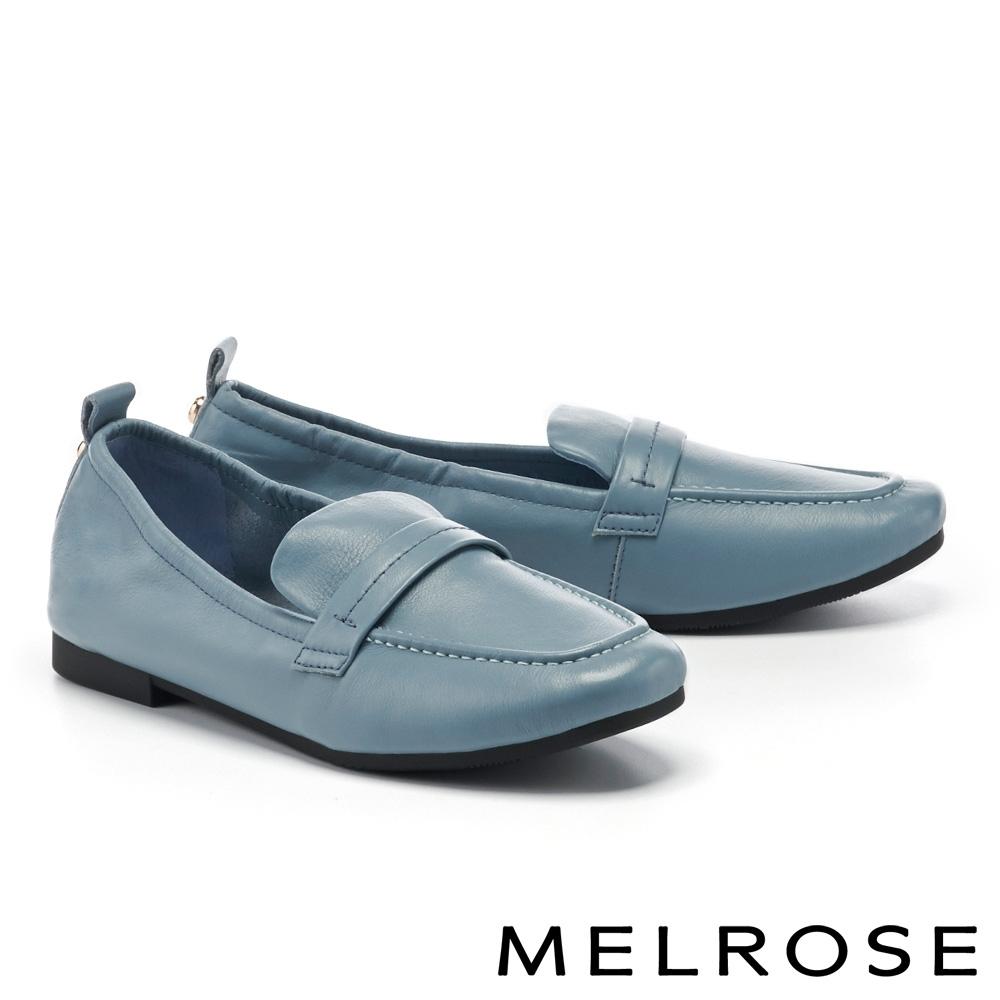 低跟鞋 MELROSE 經典復刻純色全真皮樂福低跟鞋-藍