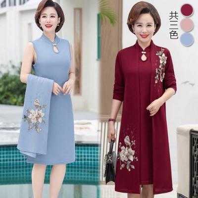 【韓國K.W.】(預購) 韓國設計明星同款素雅印花套裝裙