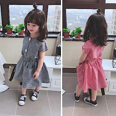 小衣衫童裝  中小童夏季小清新格子束腰短袖洋裝1080411