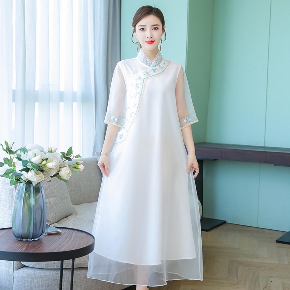 民族風真絲拼接旗袍式洋裝S-2XL(共兩色)-REKO