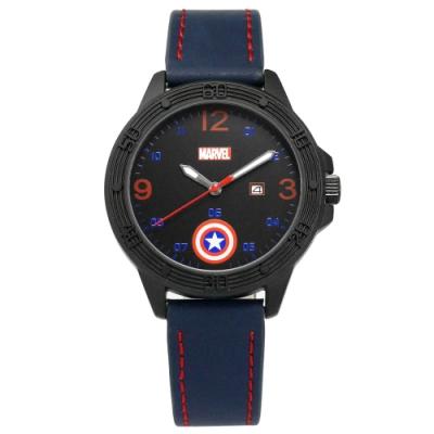 Disney 迪士尼 漫威系列 美國隊長 盾牌 兒童 卡通錶 皮革手錶-黑x藍/36mm