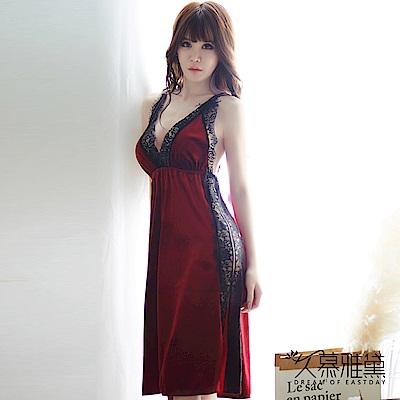 性感睡衣 金絲絨蕾絲拼接開叉吊帶裙。紅絲絨 久慕雅黛