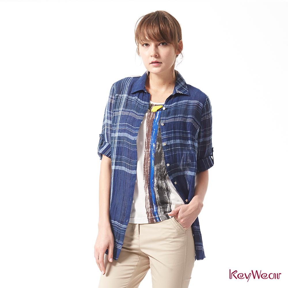 KeyWear奇威名品     特殊亞麻尼龍交織布料九分袖襯衫-藍色 @ Y!購物