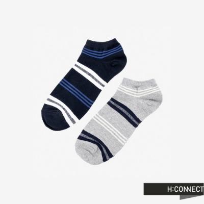 H:CONNECT 韓國品牌 男襪 - 簡約線條短襪組-灰