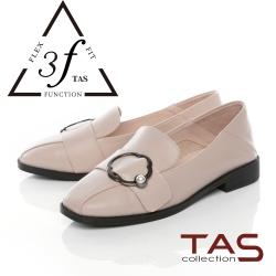 TAS金屬造型飾扣復古牛皮踩腳懶人鞋-氣質米