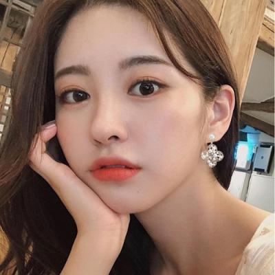 梨花HaNA 韓國925銀微華麗四葉草鑽版珍珠耳環