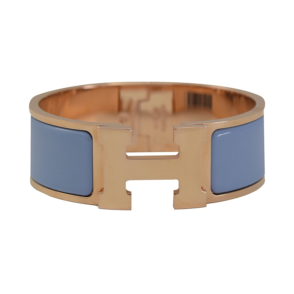 HERMES CLIC H LOGO琺瑯扣式寬版手環(玫瑰金/粉藍)