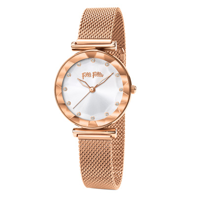 Folli Follie晶耀浪漫時尚腕錶-玫瑰金(WF18R003BSS-XX)