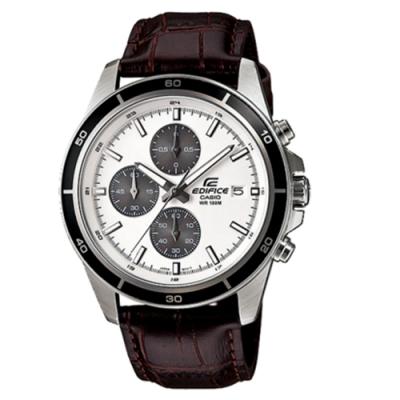 CASIO卡西歐 商務休閒三眼皮革男腕錶(EFR-526L-7A)-白x48mm