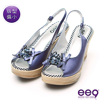 ee9 MIT經典手工鑲嵌亮鑽鏤空露趾超輕楔型跟涼鞋 藍色