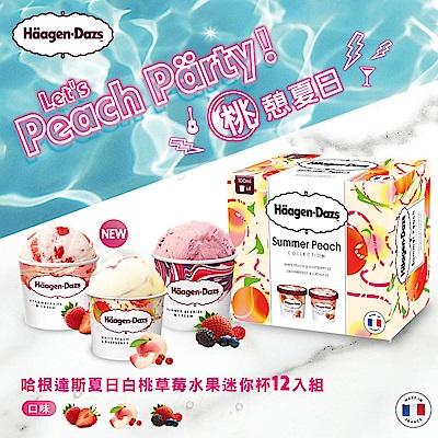 哈根達斯-桃憩夏日水果迷你杯組合包12入組(白桃覆盆子/草莓/仲夏野莓)