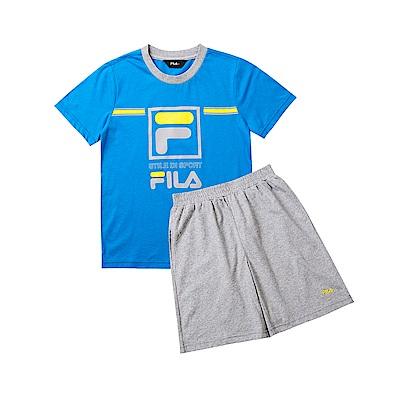 FILA KIDS 童短袖純棉針織套裝-寶藍 1WTT-4908-AB