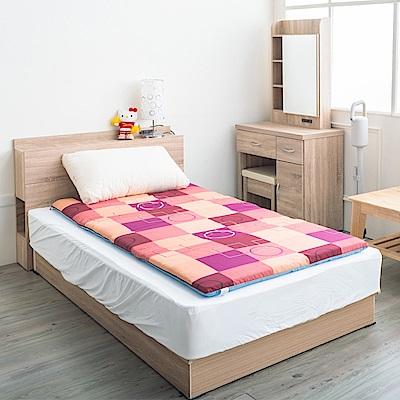 戀戀鄉 (單人3尺)極致舒柔雙彩格紋便攜可拆洗型棉床墊-粉桃格紋