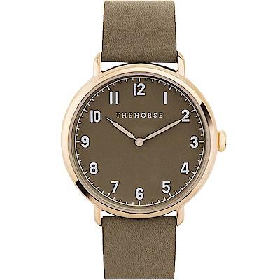 THE HORSE 都會時尚藍寶石水晶腕錶 –灰綠色/42mm