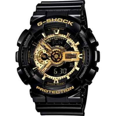 CASIO G-SHOCK 重機裝備 雙顯運動錶(GA-110GB-1A)黑x金/51mm