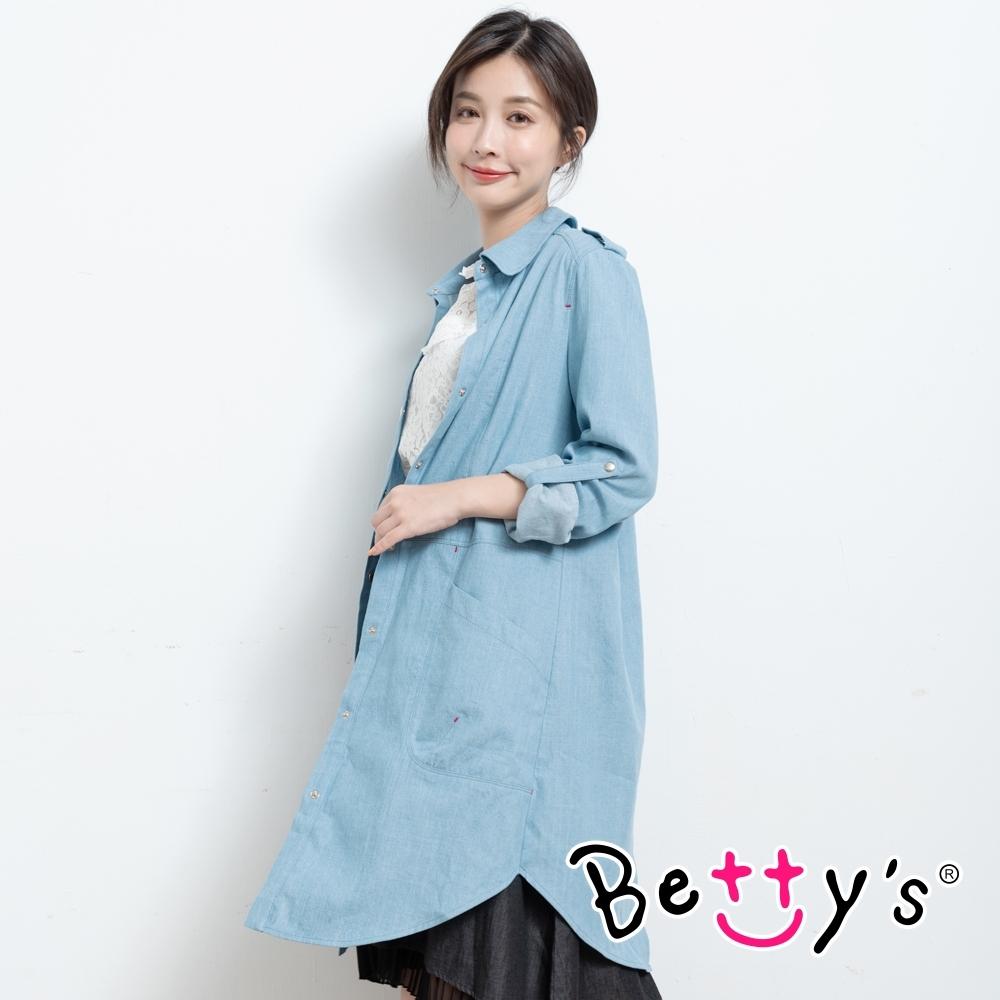 betty's貝蒂思 韓風率性牛仔長版襯衫(淺藍)