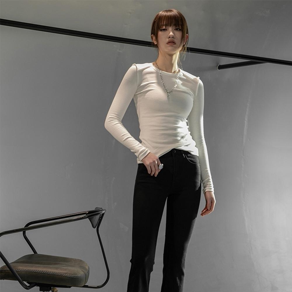 設計所在Style-翻邊反穿設計簡約彈力T恤 (白色)
