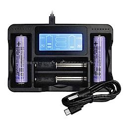 LG 安全認證 凸頭18650充電鋰電池 3400mAh(2入)+LCD液晶四槽充電器