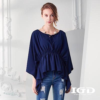 IGD英格麗 荷葉邊寬版七分袖上衣-深藍