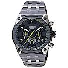 RHYTHM日本麗聲 鐵甲武士計時手錶-黑x鐵灰/46mm