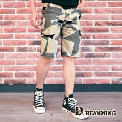 Dreamming 美式個性幾何迷彩休閒工裝短褲 側袋 彈力-共二色