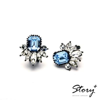 STORY故事銀飾-氣質時尚耳環-Dazzling晶鋯耳環(天空藍)