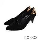 KOKKO - 日本同步尖頭拼接舒壓真皮高跟鞋 - 豹紋黑