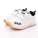 FILA頂級童鞋 復古慢跑鞋款 EI28T-100白黑(中小童段)
