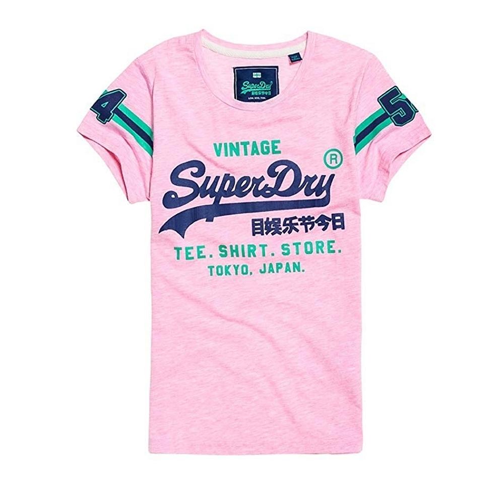 Superdry Shirt Shop Varsity 印花T恤(淡粉灰)