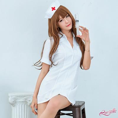 護士服 純白連身拉鍊式護士角色扮演服二件組(白F) Lorraine