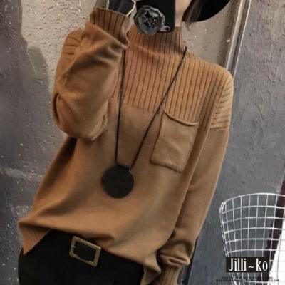 JILLI-KO 條紋半高領羊絨衫套頭毛衣- 深咖啡/黑