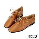 HERLS牛津鞋-網路獨家款內真皮素面方頭鞍部牛津鞋-棕色