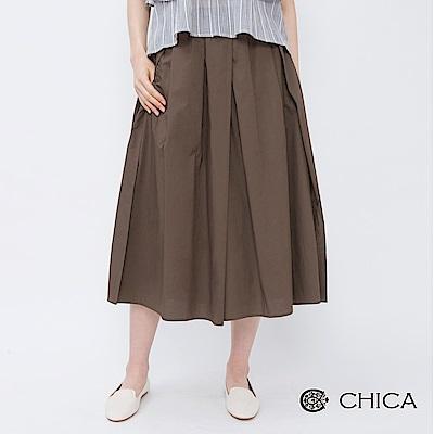 CHICA 俐落率性拼接百褶設計寬褲(2色)