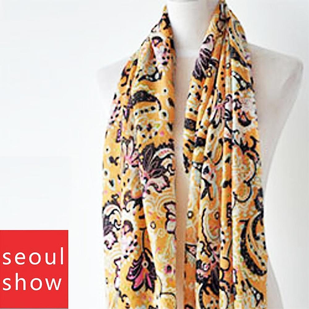 Seoul Show首爾秀 60支紗橘色溫度 100%純羊毛印花圍巾保暖披肩