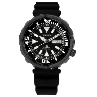 SEIKO 精工 PROSPEX 潛水錶 機械錶 防水200米 矽膠手錶-黑色/50mm
