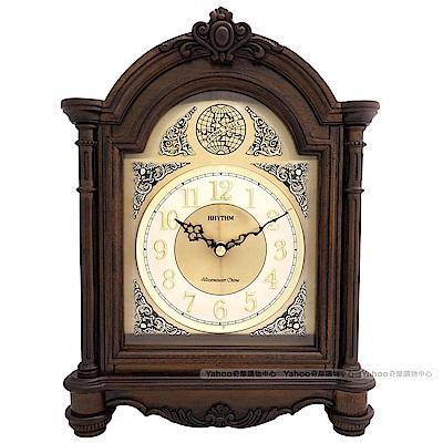 RHYTHM麗聲 古典浮雕實木報時座鐘/30cm