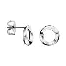 CALVIN KLEIN Beauty 系列簡潔圓形白鋼耳環