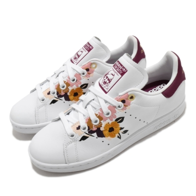 adidas 休閒鞋 Stan Smith 復古 低筒 女鞋 愛迪達 三葉草 史密斯 老人頭 花卉 穿搭 白紅 FW2524