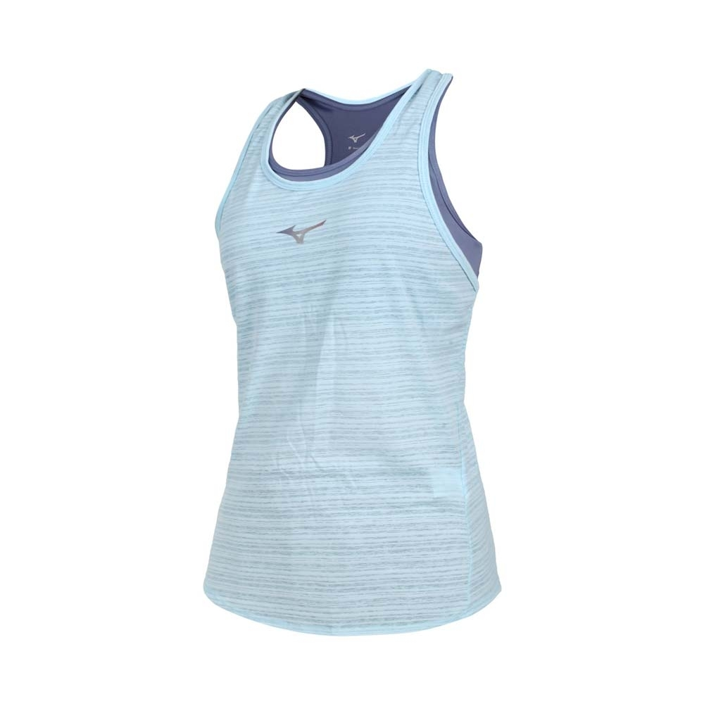 MIZUNO 女兩件式瑜珈背心-台灣製 運動內衣 BRA 上衣 反光 美津濃 K2TA120423 藍水藍銀