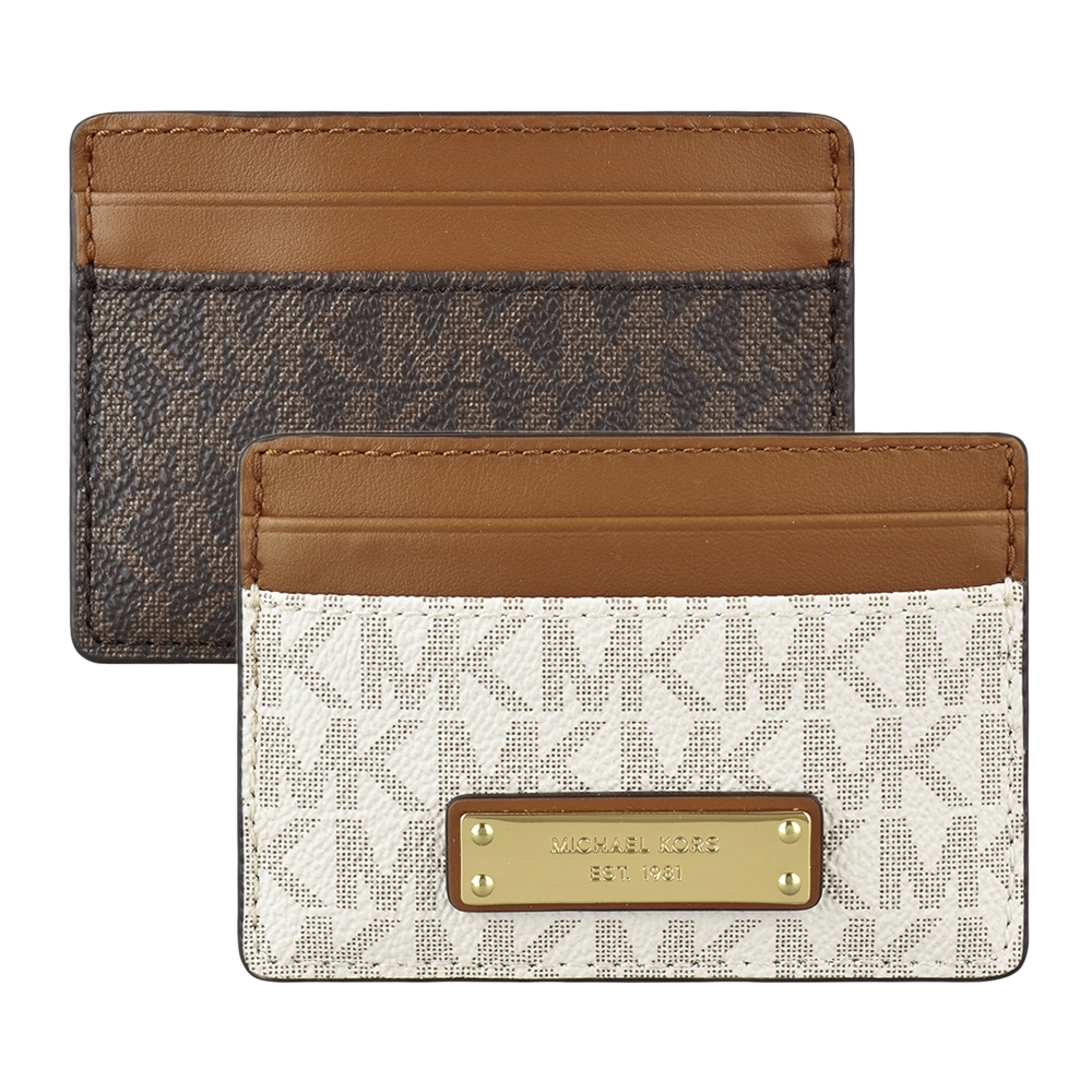 MK MICHAEL KORS JET SET金字壓印LOGO 印花PVC 4卡名片夾(兩色)