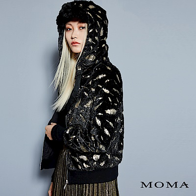 MOMA 羽毛燙金連帽外套